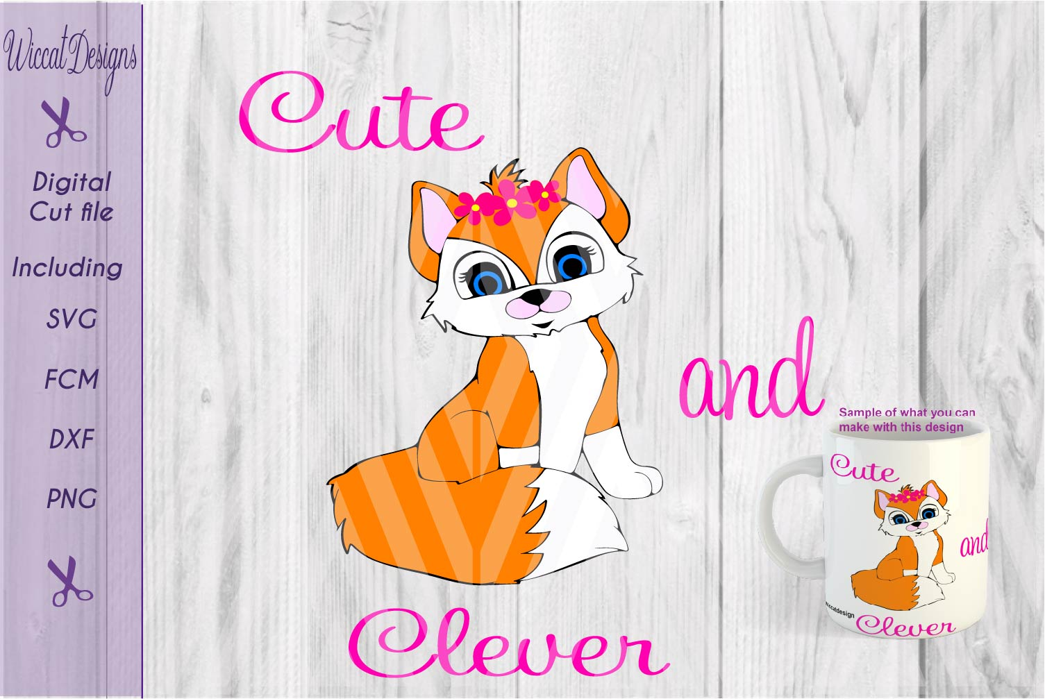 Fox girl svg, Cute clever svg, Woodland svg, animals cut file example image 1