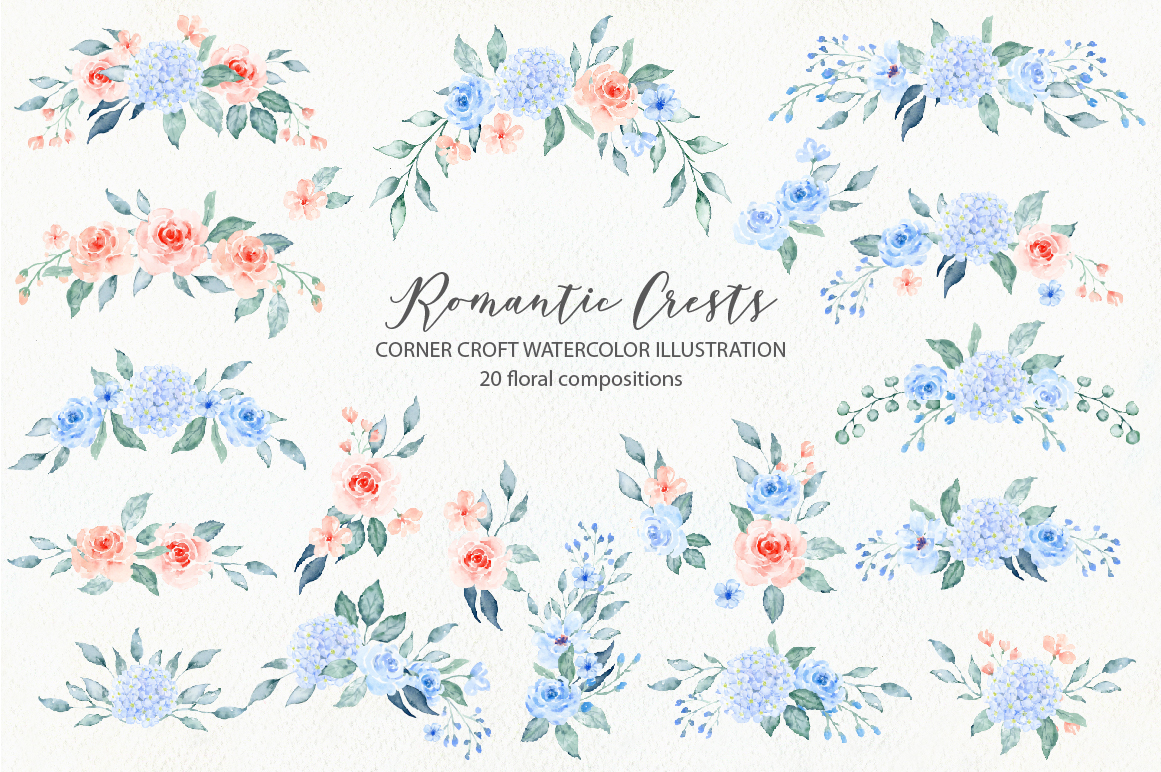 Watercolor Romantic Crest Design Kit example image 7