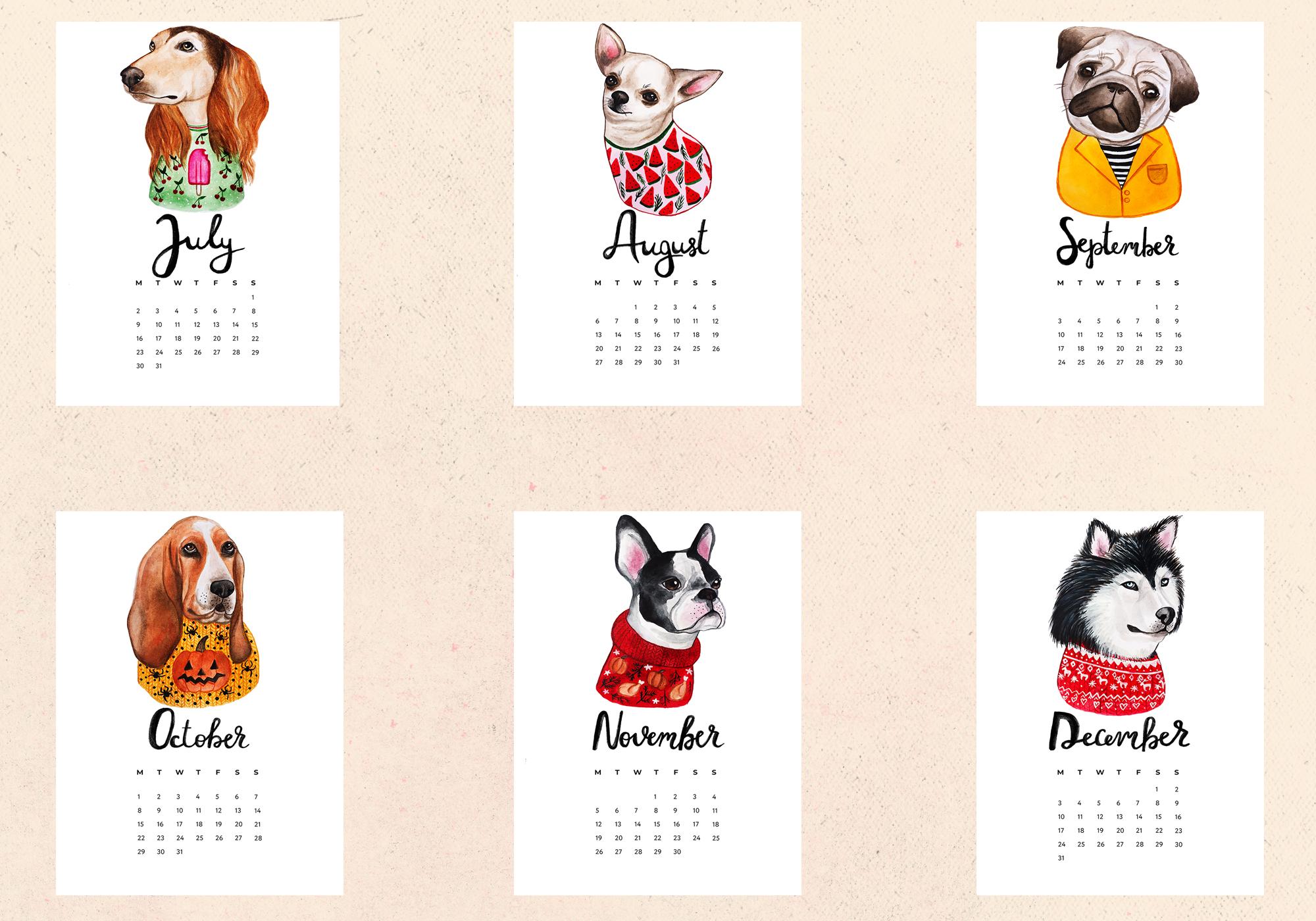 Watercolor Cute Dogs+Calendar example image 5