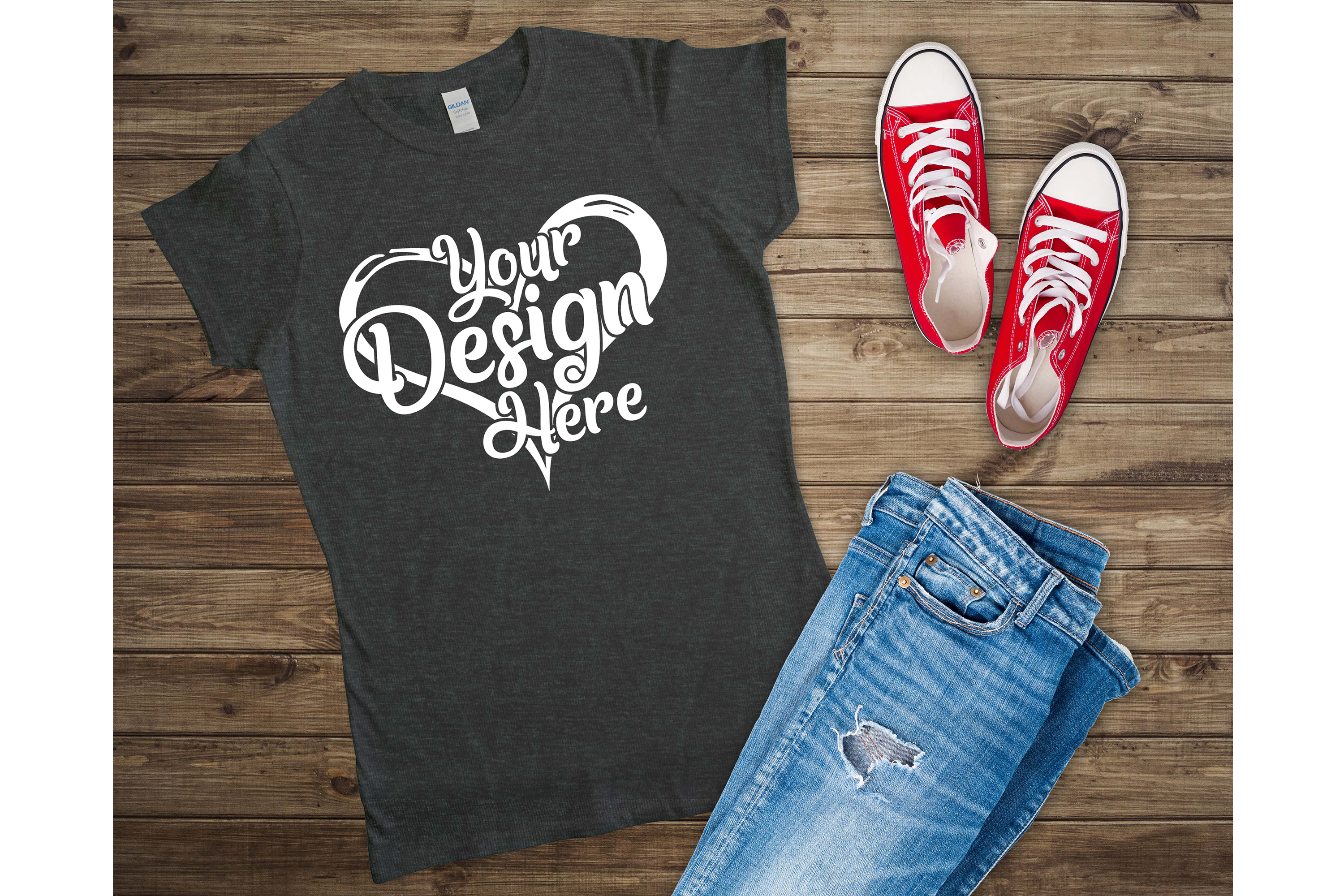 Gildan 64000L Ladies T-Shirt Mockup Bundle Flat Lay example image 5