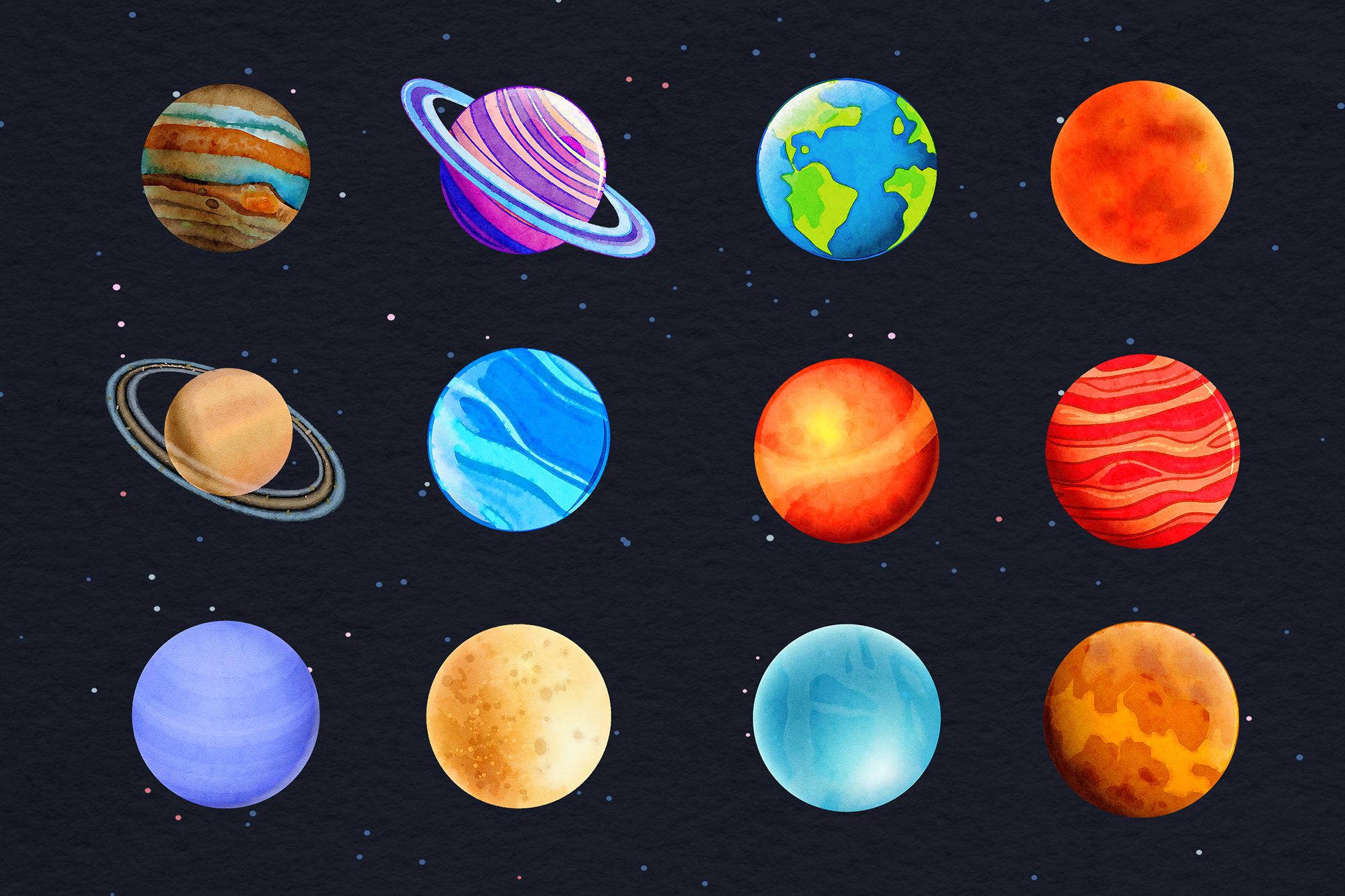 Watercolor Planets Clipart example image 2