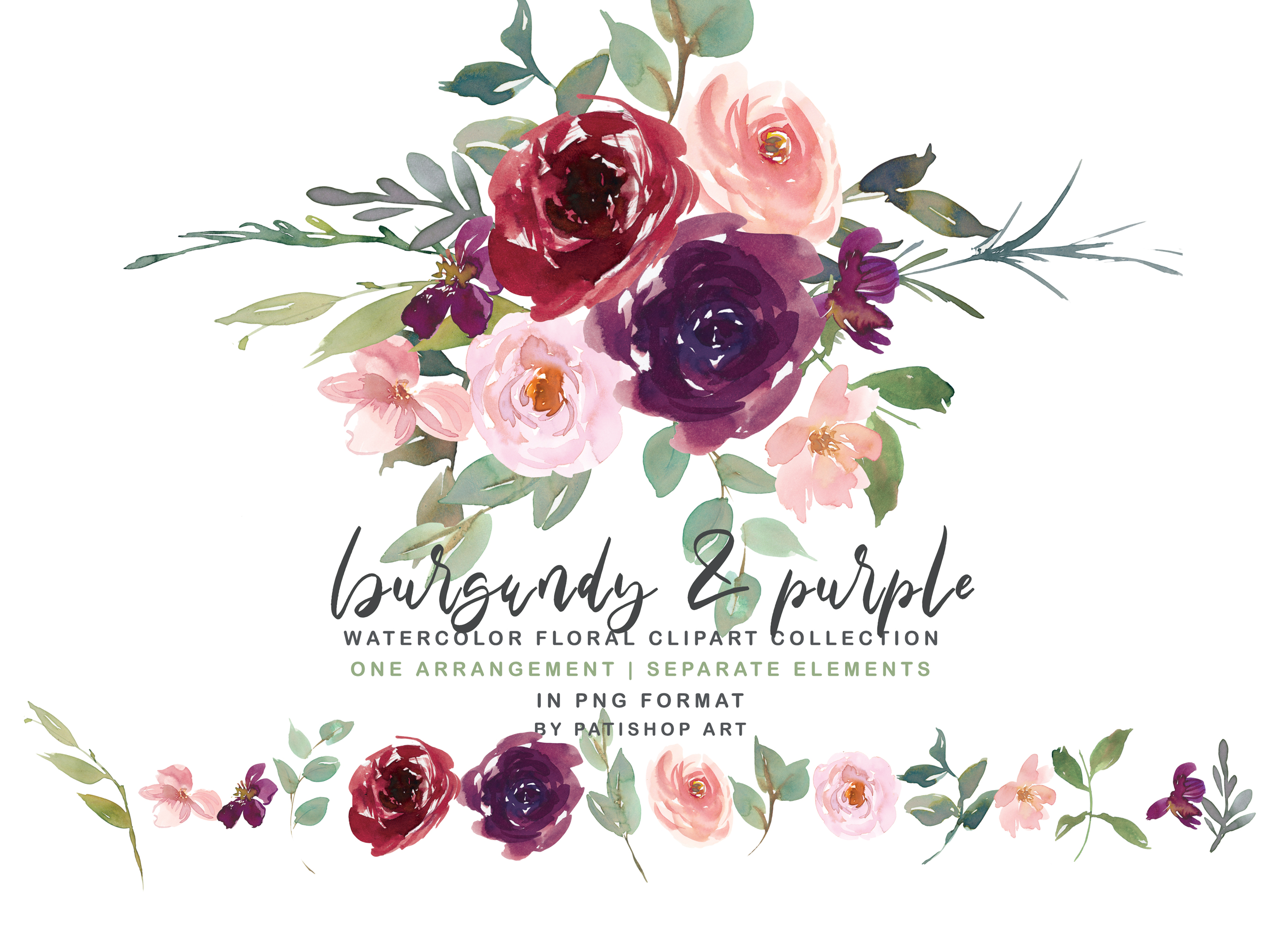 Burgundy Purple and Blush Watercolor Floral Clipart Set example image 2