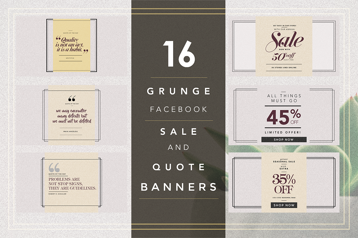 GRUNGE Facebook sale and quote pack example image 1