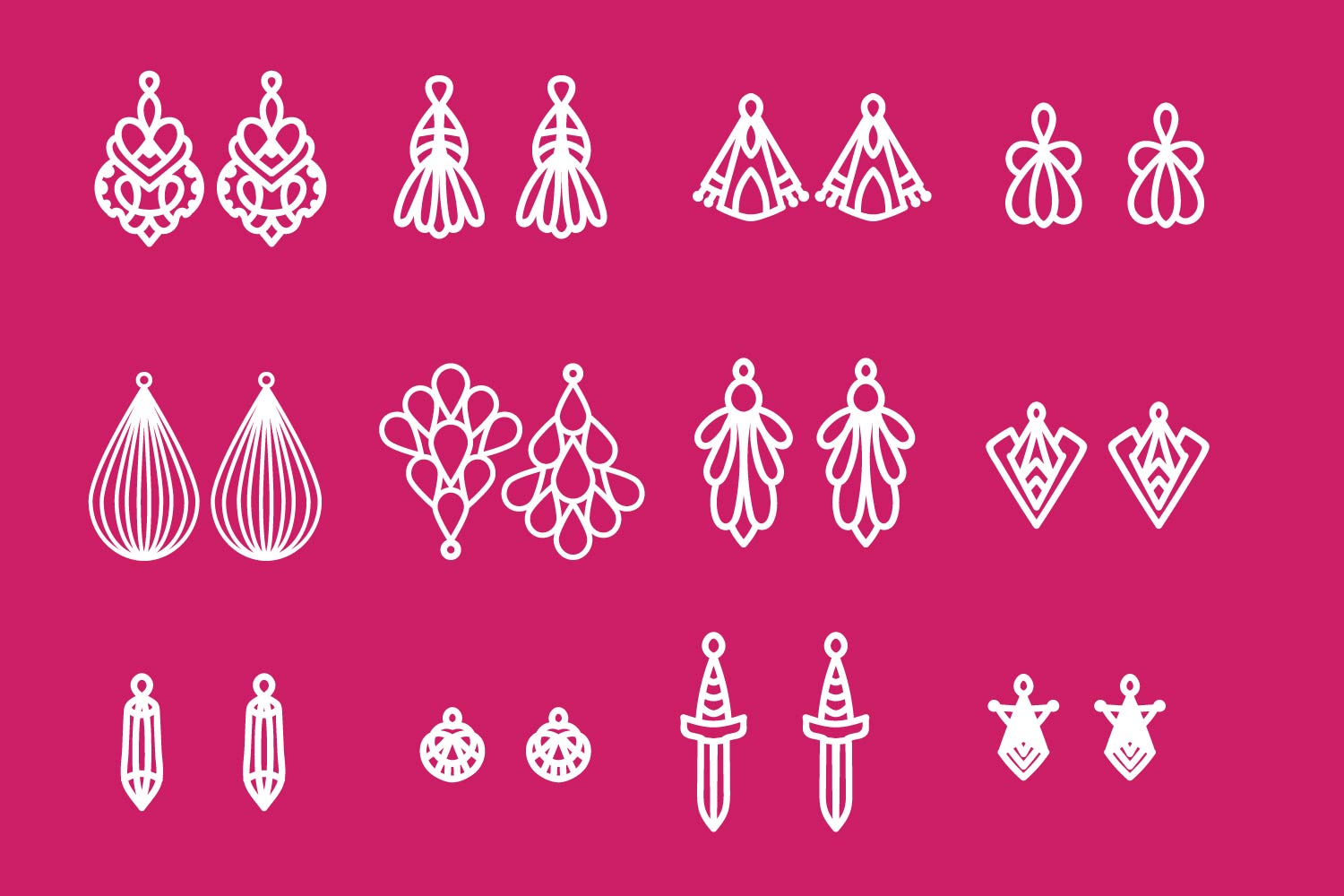 Earring SVG Bundle Pack - 12 Hand Drawn Earrings example image 2