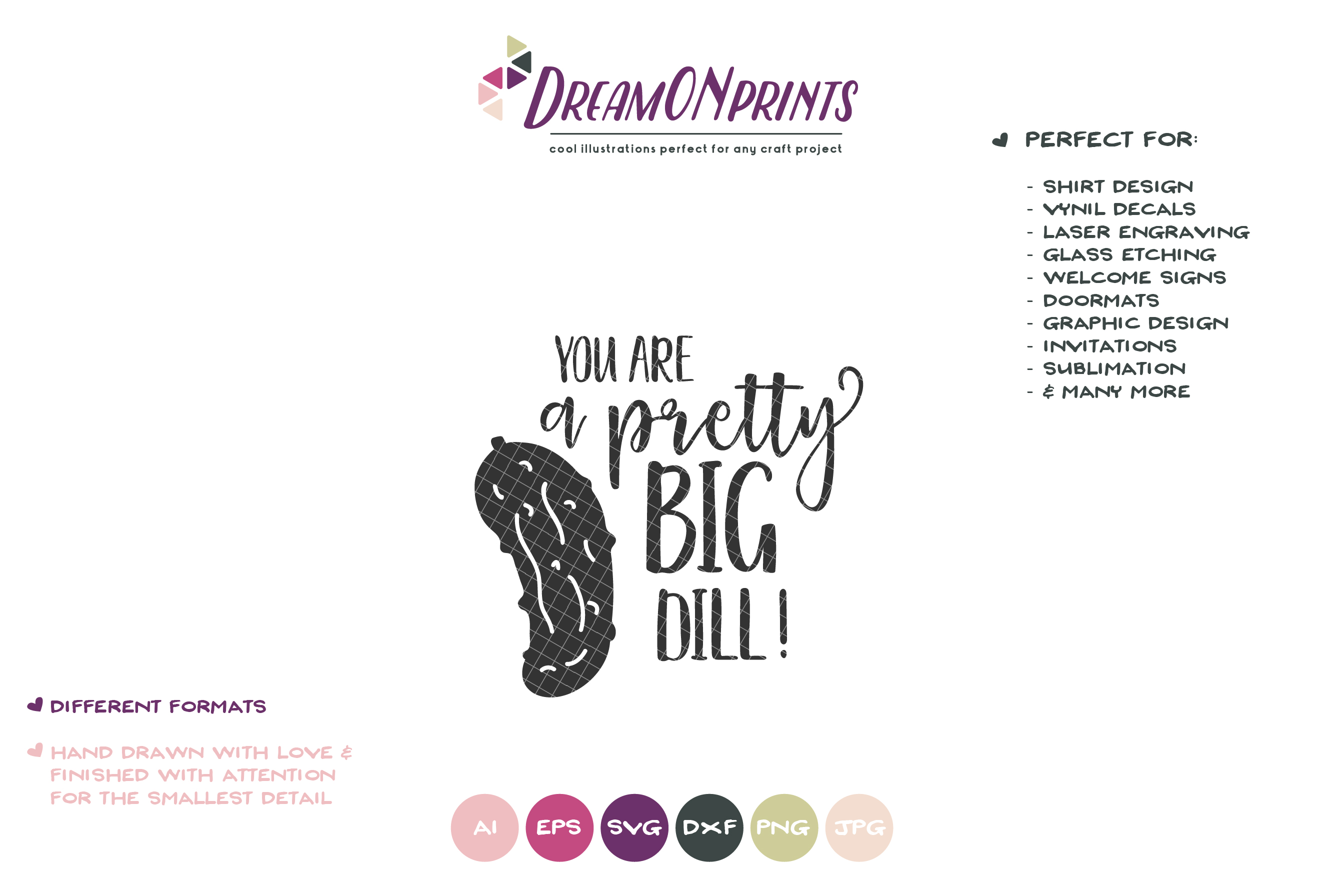 Pretty Big Dill   Food Pun SVG   Pickle SVG example image 2