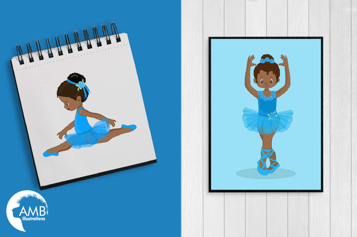 Ballerinas in blue clipart, graphics illustration AMB-1946 example image 3