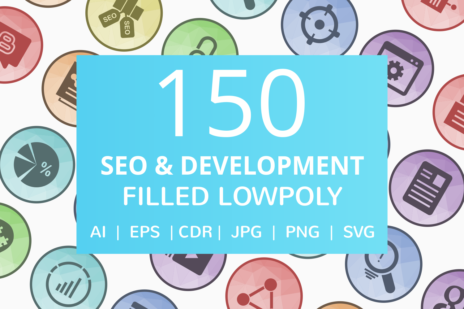 150 SEO & Development Filled Low Poly Icons example image 1