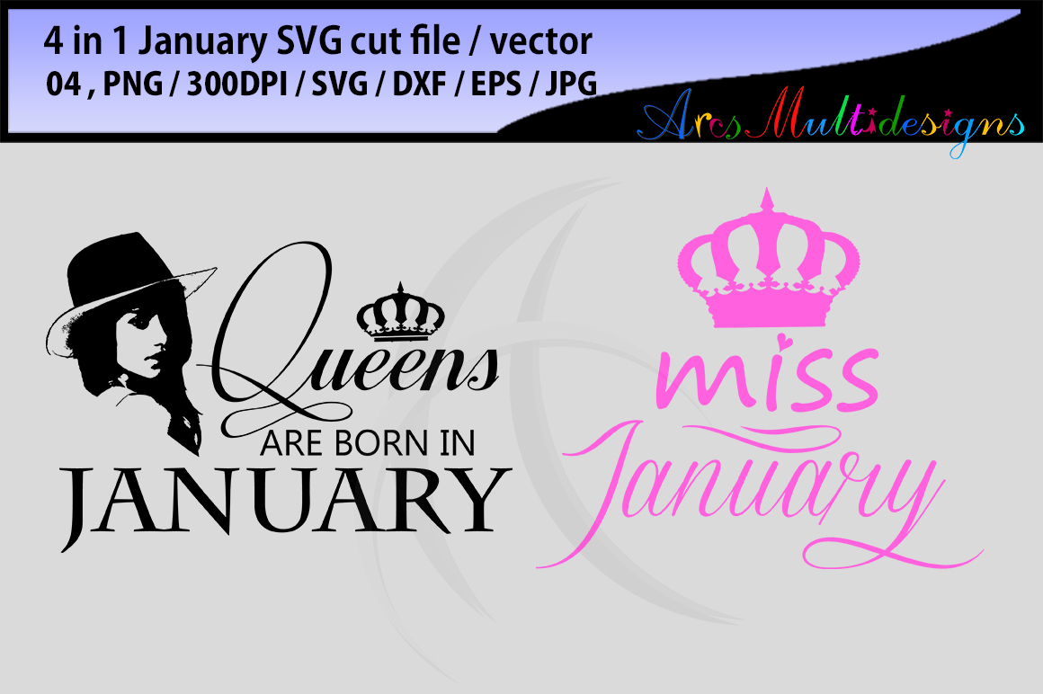 january girl svg vector cut file bundle 4 in 1 / printable january girl / miss january cut / princesses january svg / queen january svg example image 3