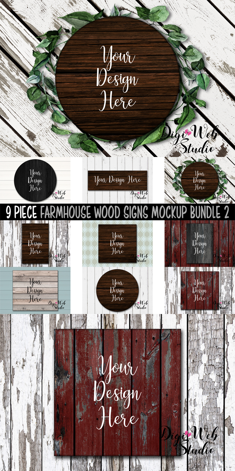 Wood Signs Mockup Bundle - 9 Piece Farmhouse Wood Signs 2 example image 11