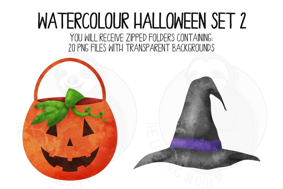 Watercolor Halloween Clip Art Set 2 example image 7
