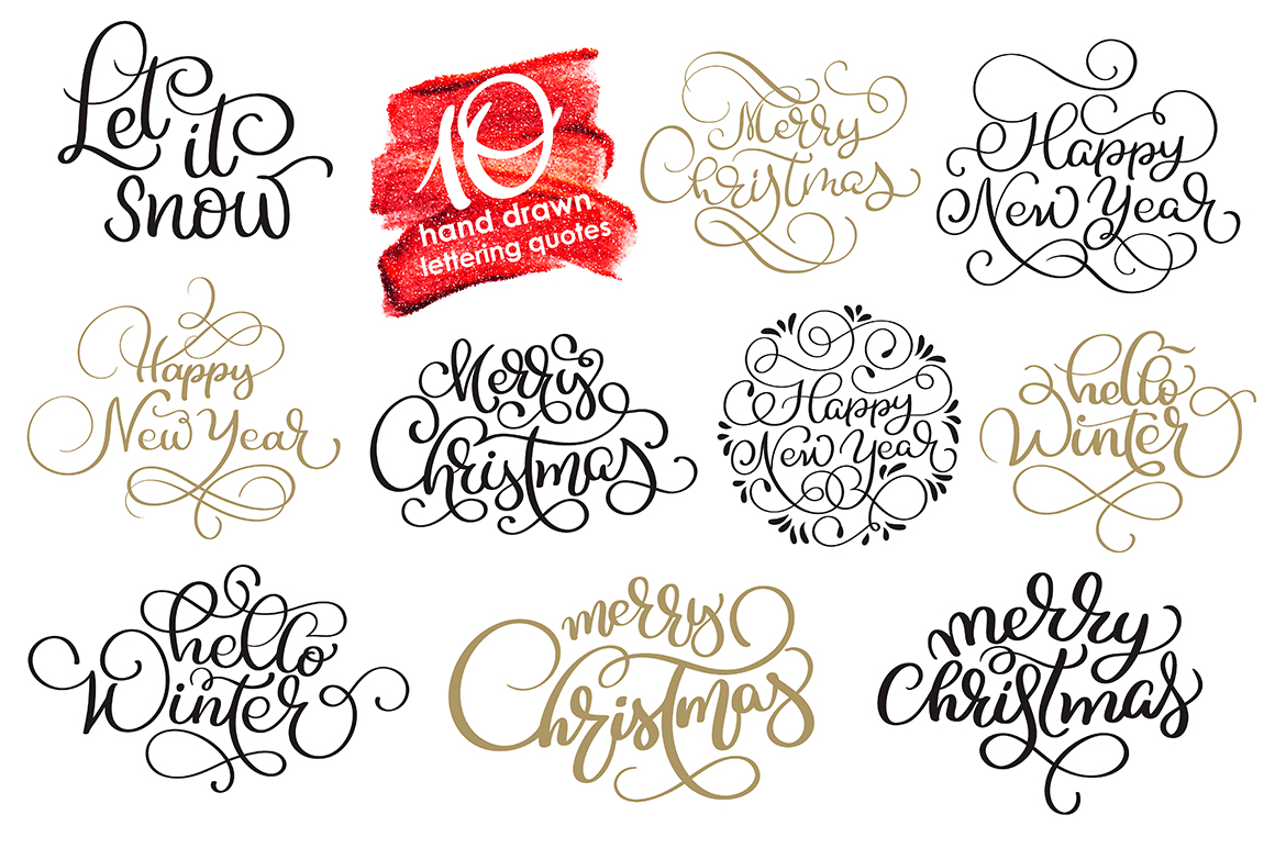 Merry Christmas Quotes and Objects Calligraphy Collection example image 4