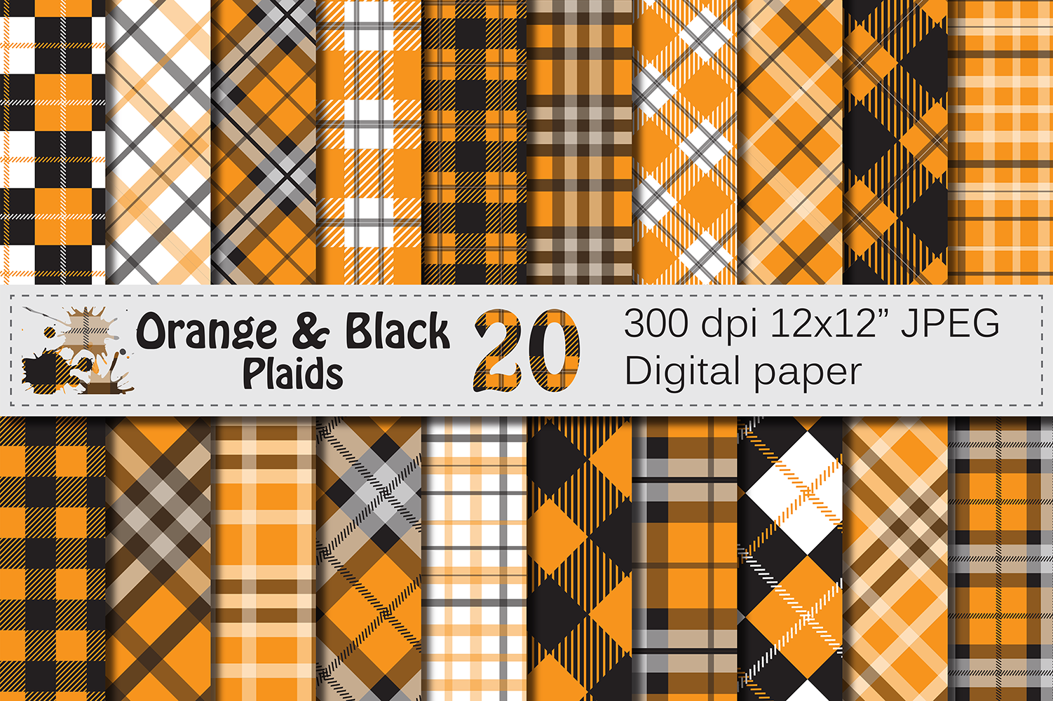Orange and Black Plaid Digital Papers / backgrounds example image 1