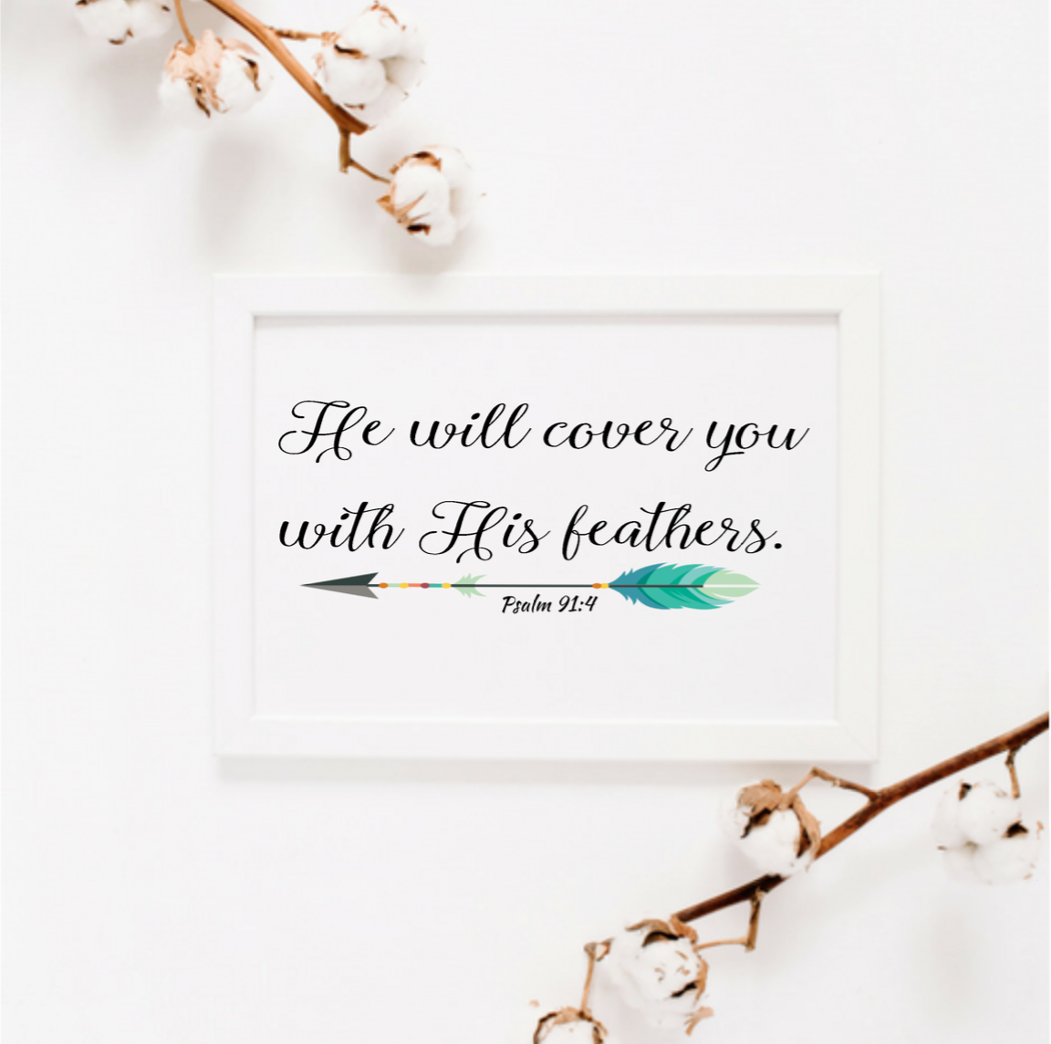 photograph relating to Psalm 91 Printable named He will protect on your own with His feathers Psalm 91:4 wall artwork Print Printable Christian Religion Scripture quotation printable artwork residence decor print