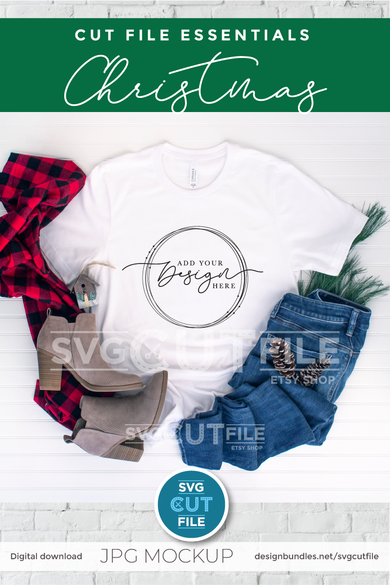 Mockup Bella Canvas 3001, white Christmas Shirt, winter mock example image 2