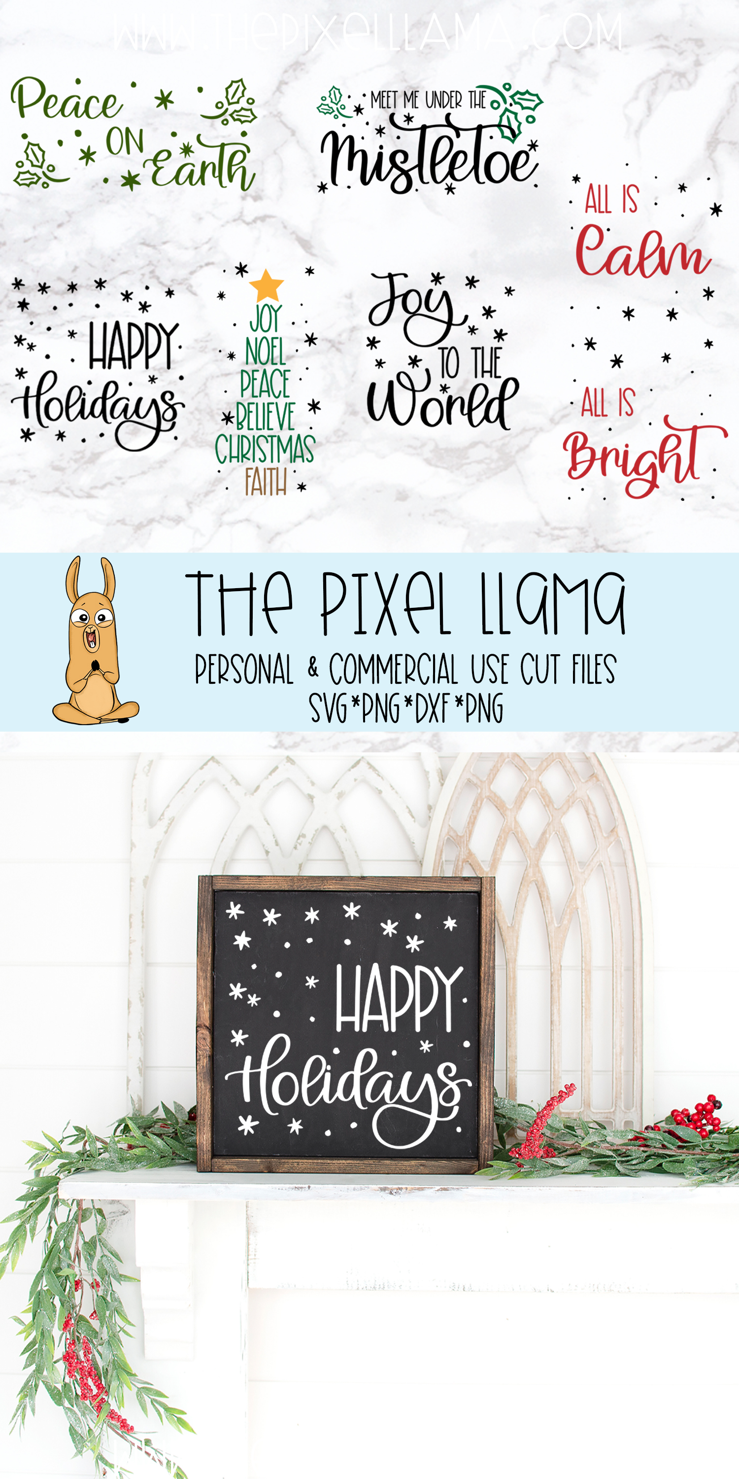 Mini Christmas Sign Bundle of 6 SVGs example image 2