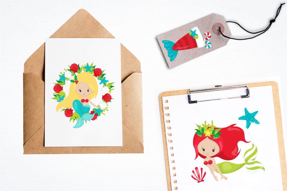 Mermaid Christmas graphic and illustrations example image 2