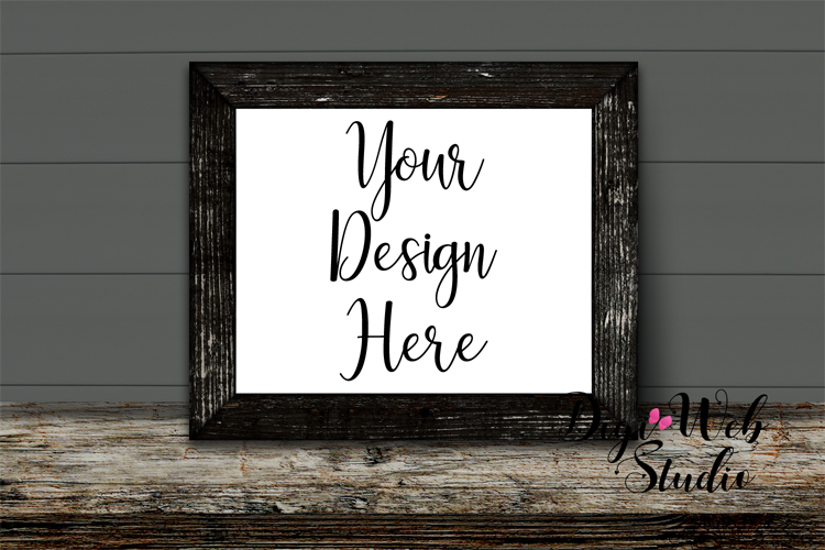 Wood Sign Mockup - Distressed Wood Frame on Rustic Shelf example image 1