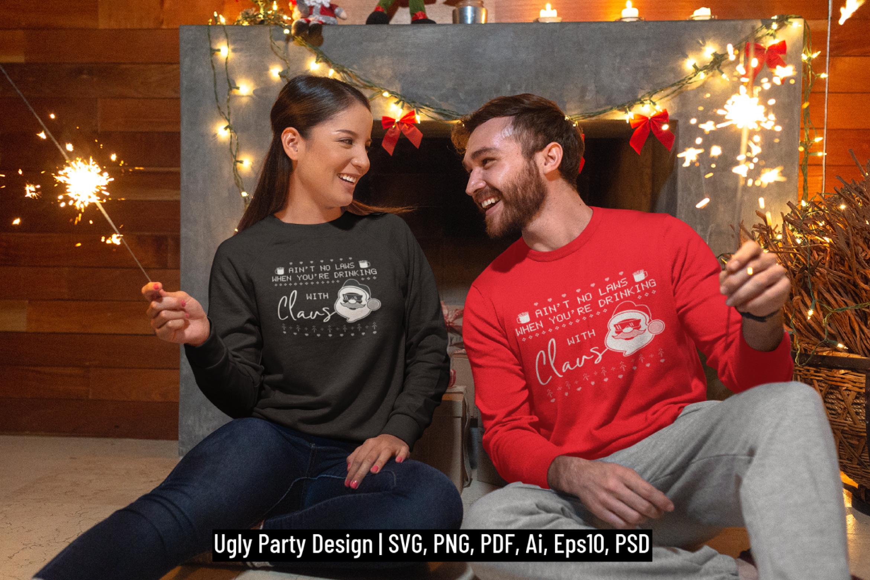 Santa Christmas Ugly Print Template, TShirt Design SVG File example image 1
