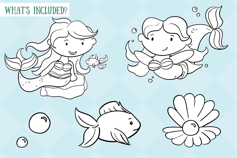 Cute Mermaids Digital Stamps example image 2