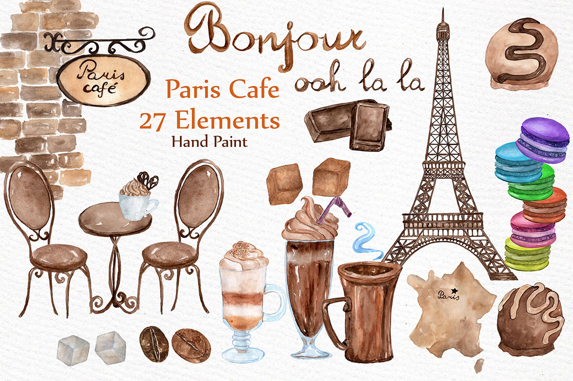Watercolor Paris cafe clipart example image 1