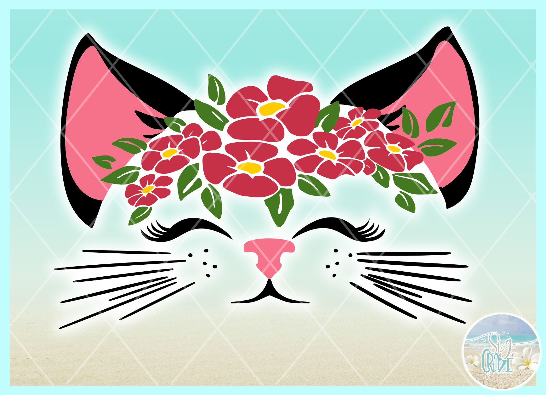 Cat Face With Flowers Svg Dxf Eps Png Svg Files For Cricut example image 4
