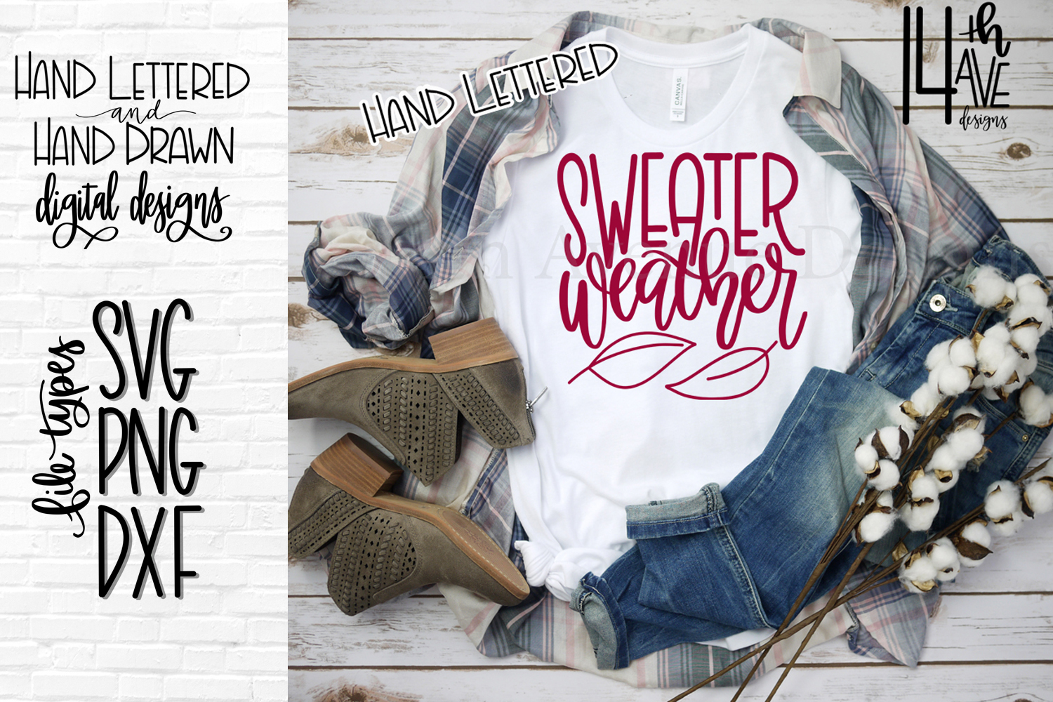 Sweater Weather SVG, Fall SVG, Hand Lettered SVG, PNG, DXF example image 1