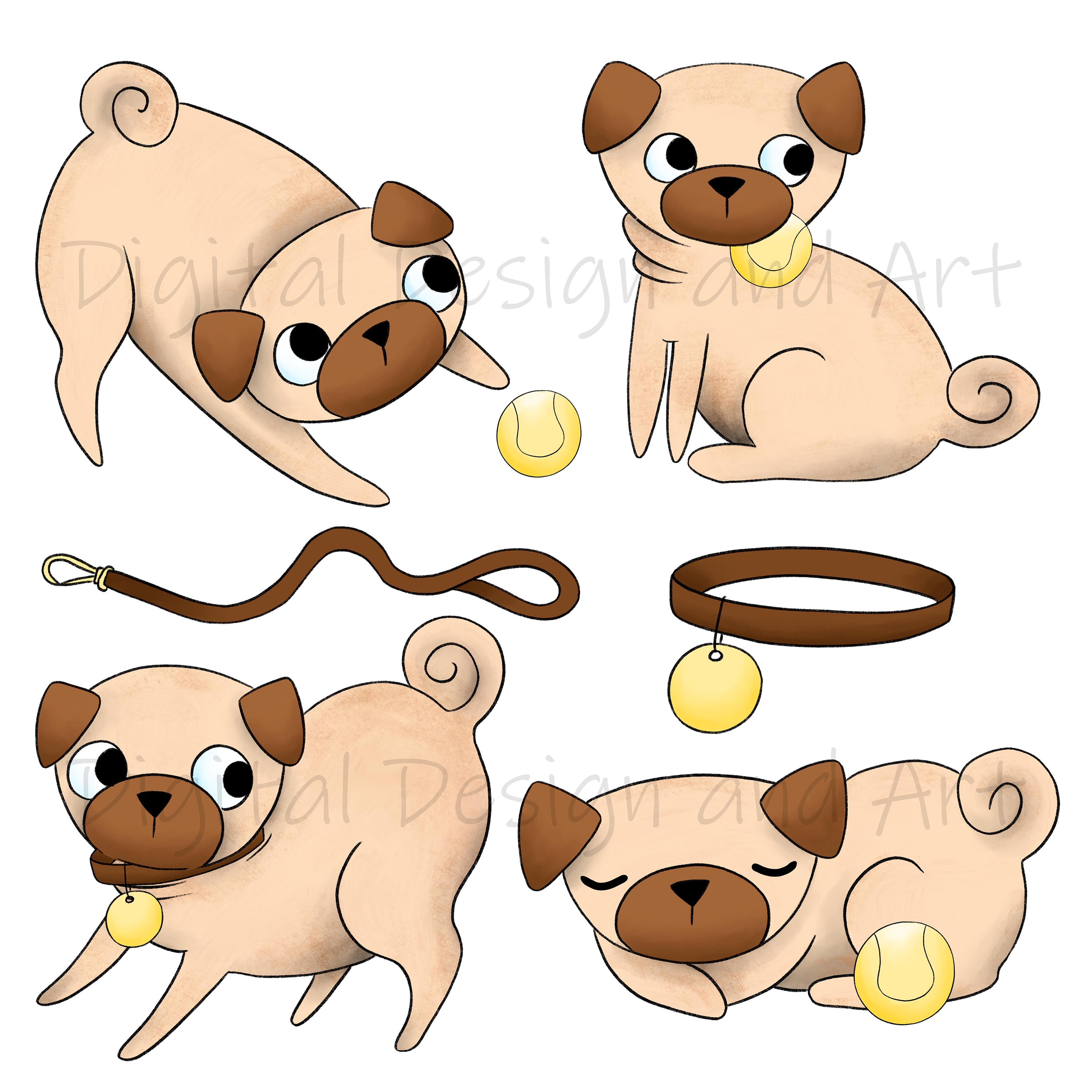 Pug clipart example image 4