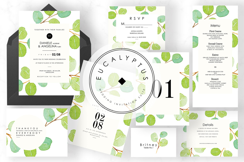6 IN 1! Eucalyptus Wedding invitations bundle example image 5