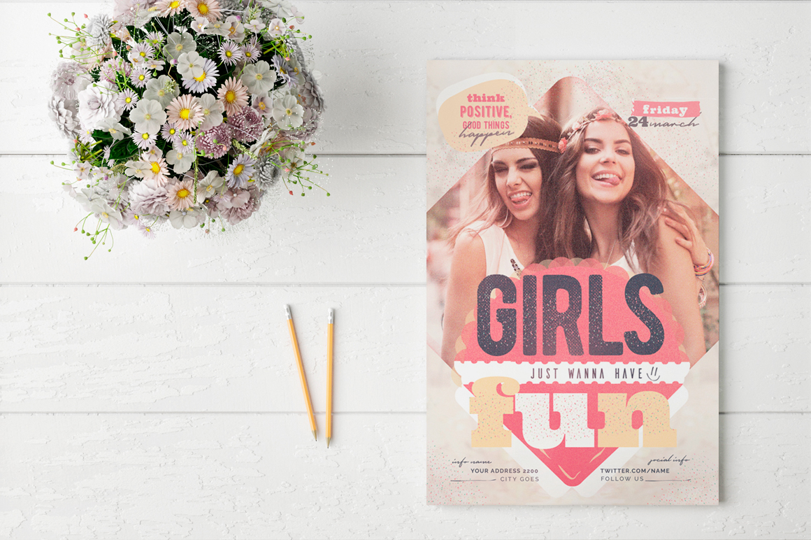 Girls Just Wanna Have Fun Flyer Template example image 3