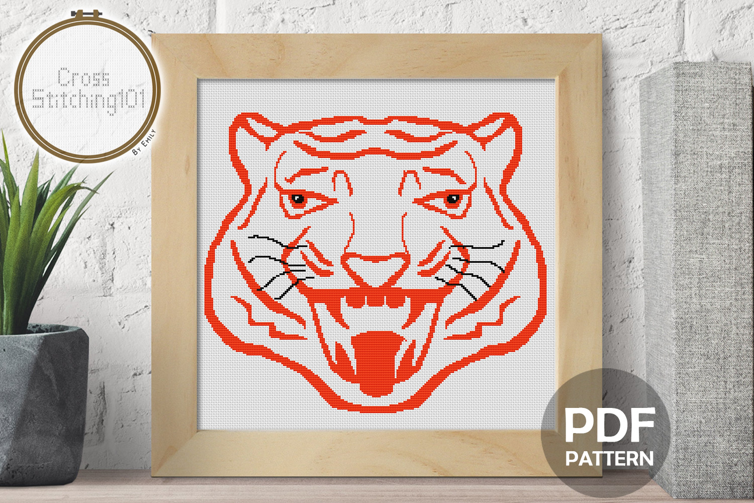 Roaring Tiger Head Cross Stitch Pattern - Instant Download example image 1
