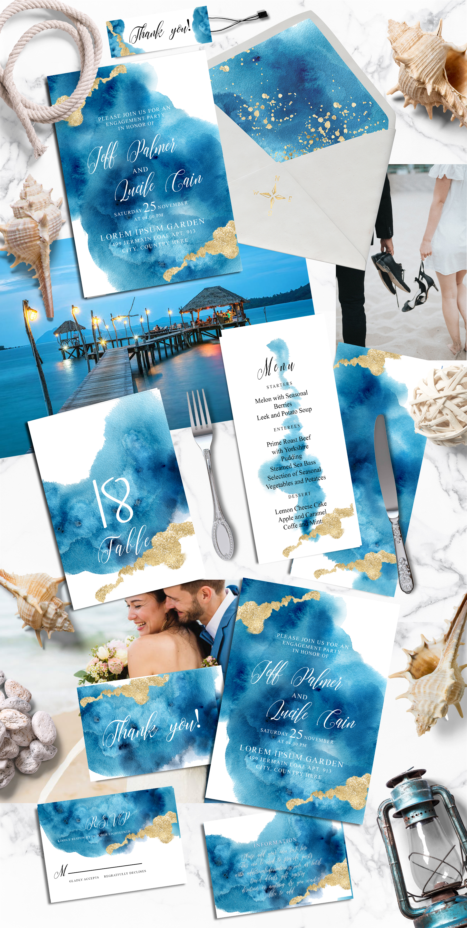 Ocean wedding invitations suit example image 5