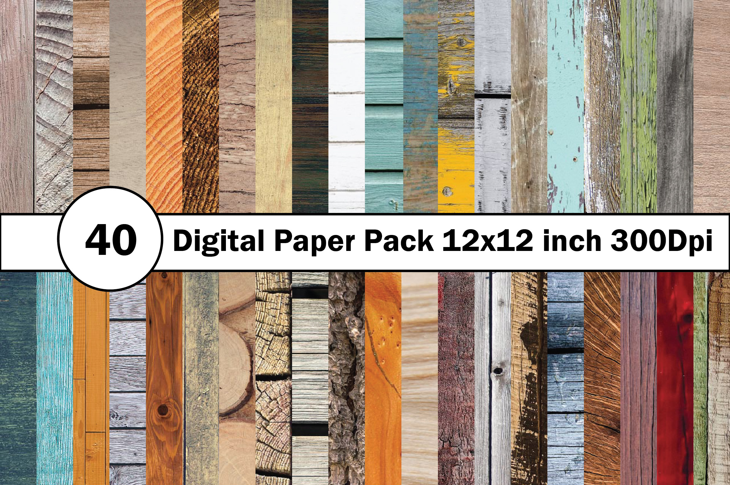 40 Digital Paper Pack 12x12 inch 300 Dpi example image 11
