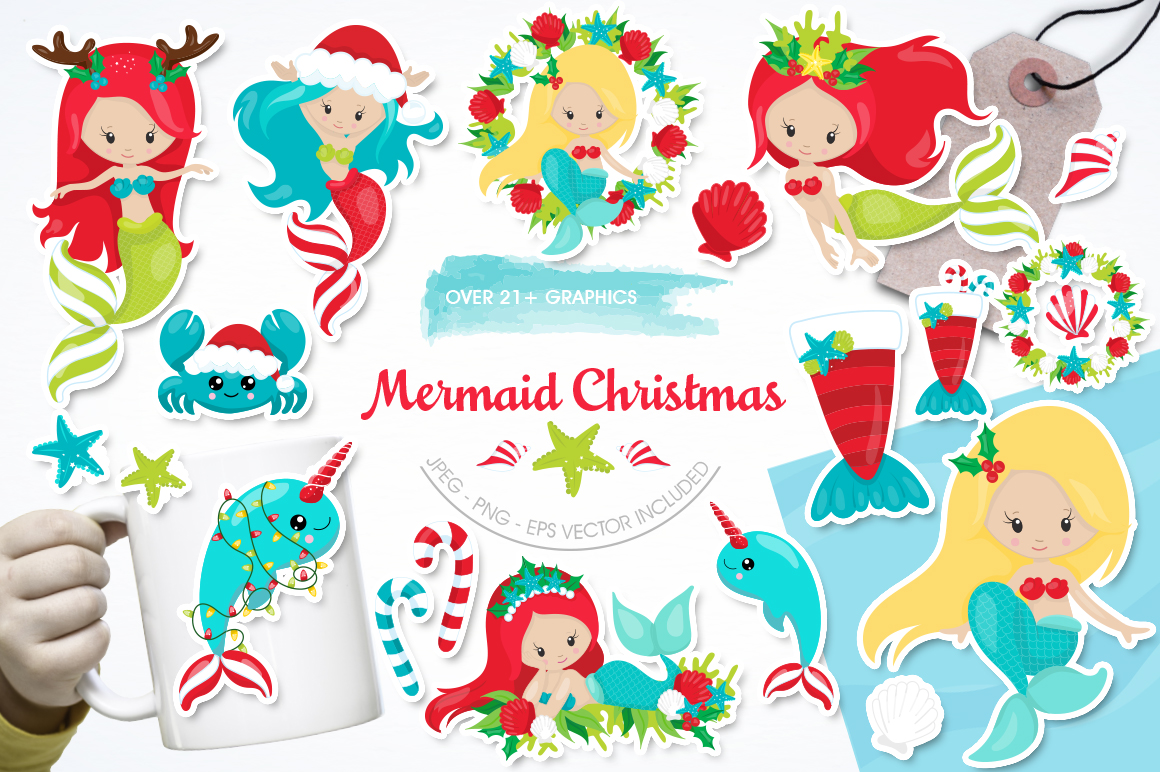 Mermaid Christmas graphic and illustrations example image 1