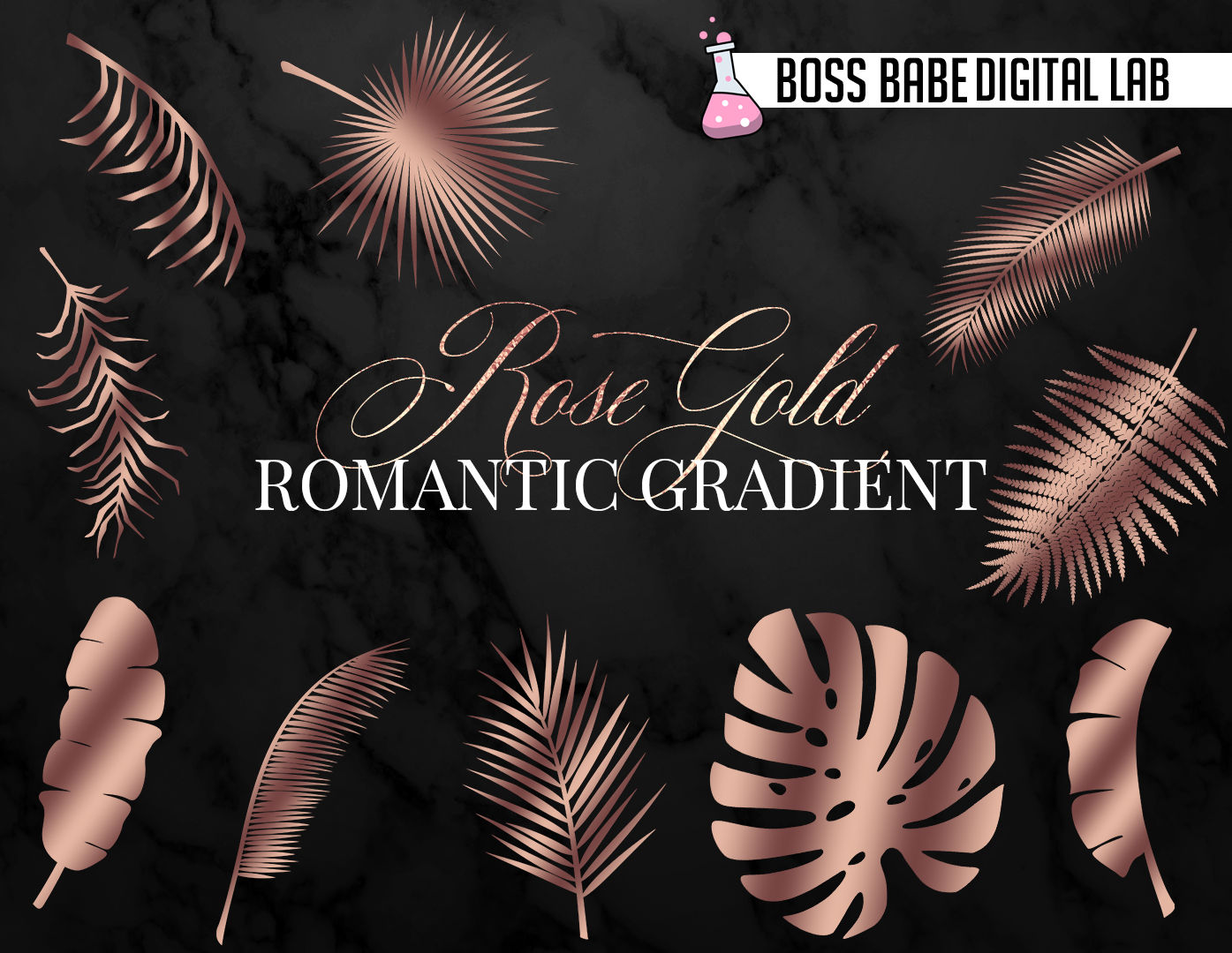 Rose Gold Tropical Leaves Clipart example image 3