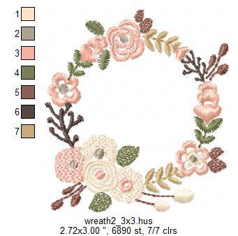 Floral Wreath Font Frame Monogram Design - EMBROIDERY DESIGN FILE - Instant download - Vp3 Hus Dst Exp Jef Pes formats 5 sizes 3,4,5,6,7inch example image 6