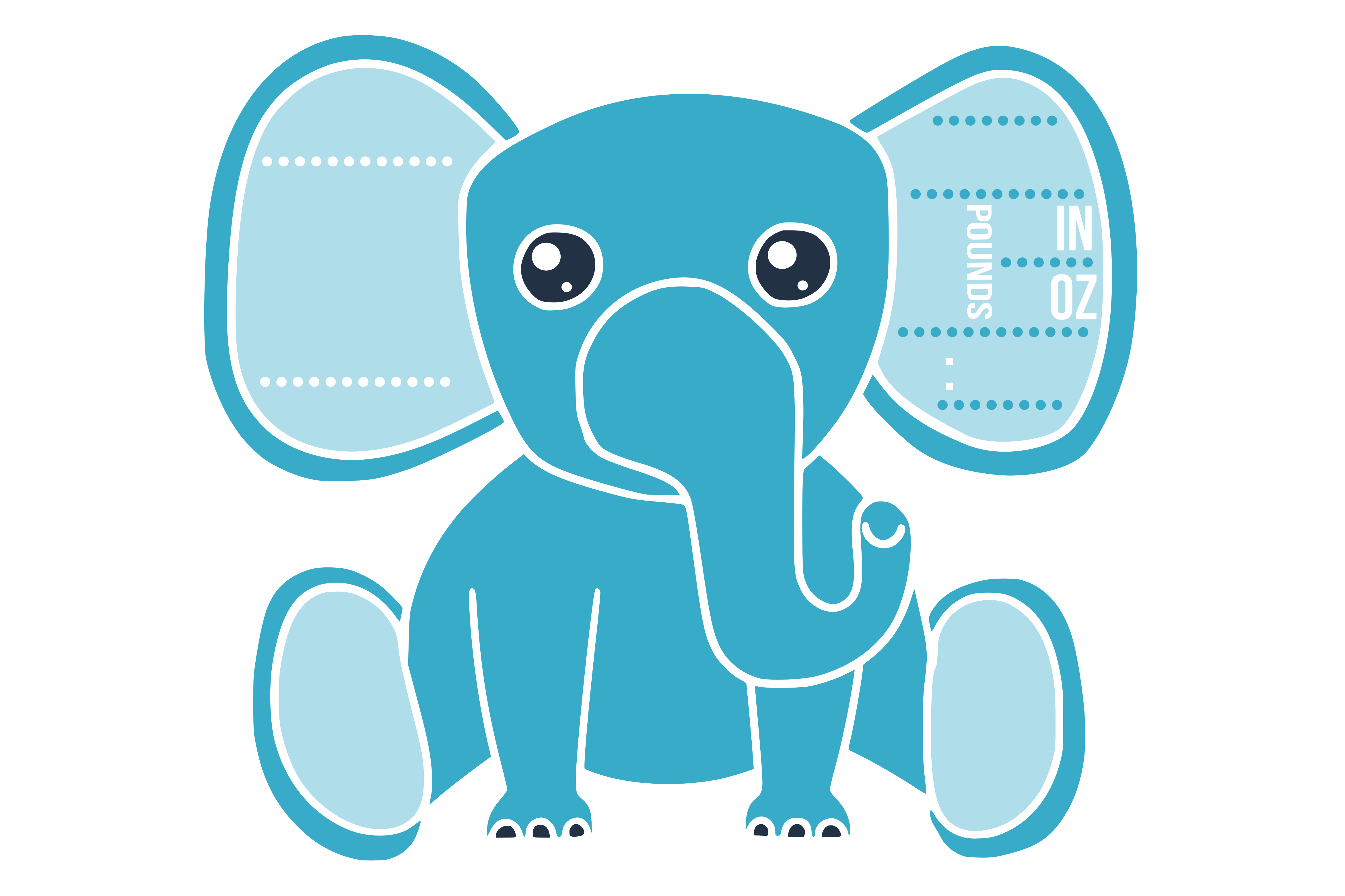 Birth stats svg, birth stats template, elephant svg file example image 2
