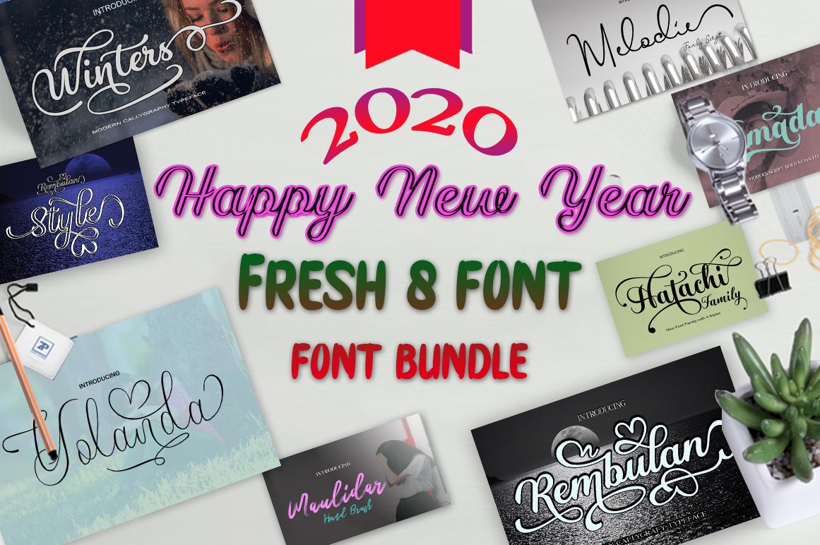 Fresh Bundles Font Script Happy New Year example image 1
