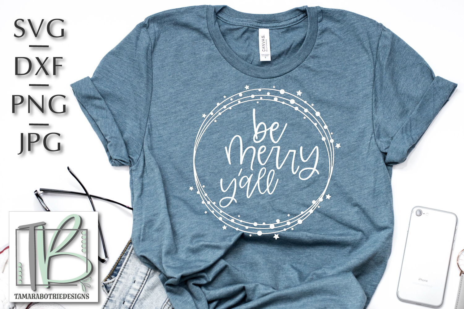 Be Merry Y'all SVG, Christmas Cut File example image 1