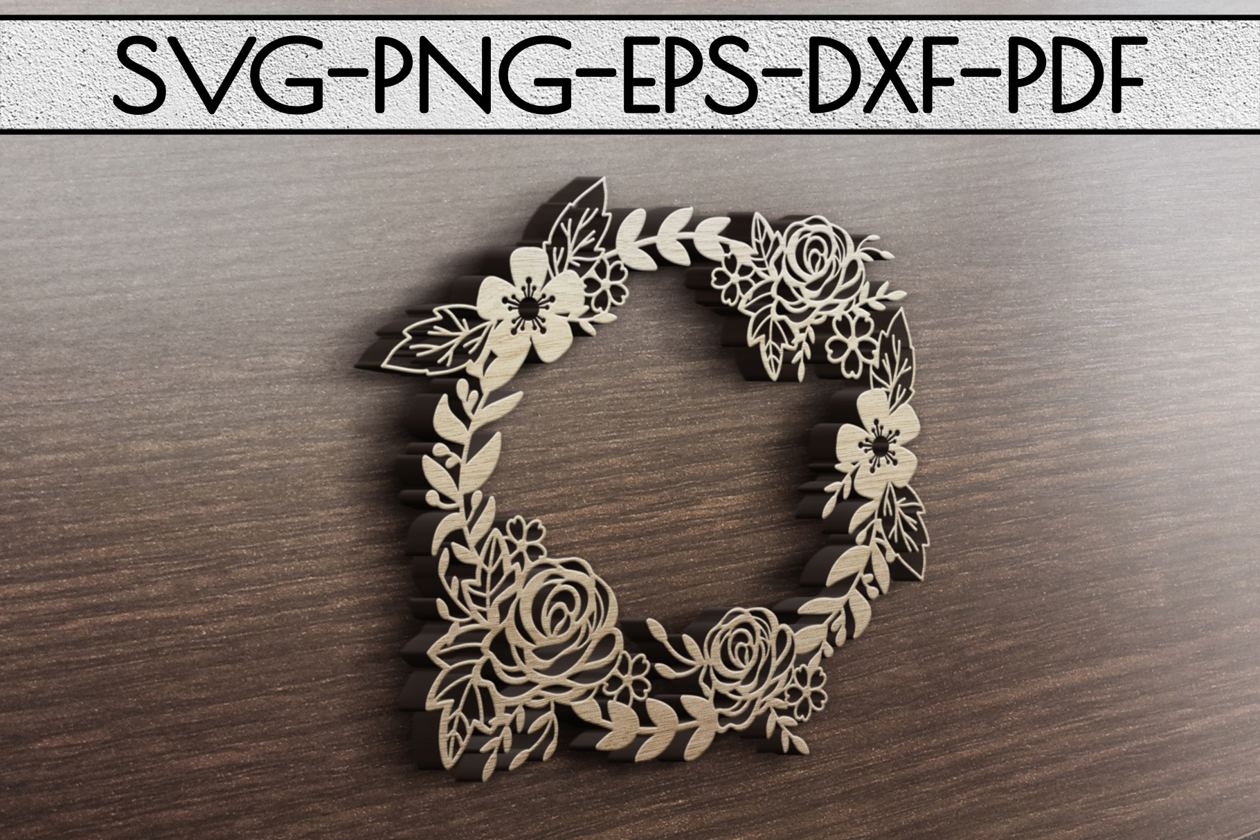Floral Wreath Papercut Template, Spring Design SVG, PDF, DXF example image 3