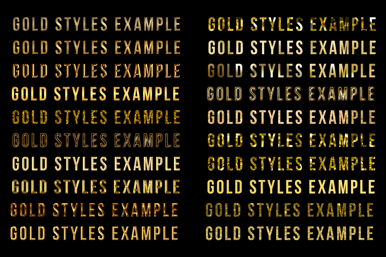 55 Photoshop Text Effects, Gold Foil Effect, Gold Stamp, Embossed Gold, ASL FX Styles, One Click FX example image 3