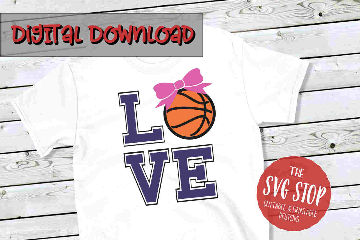 Love Bow Basketball-SVG, PNG, DXF example image 1