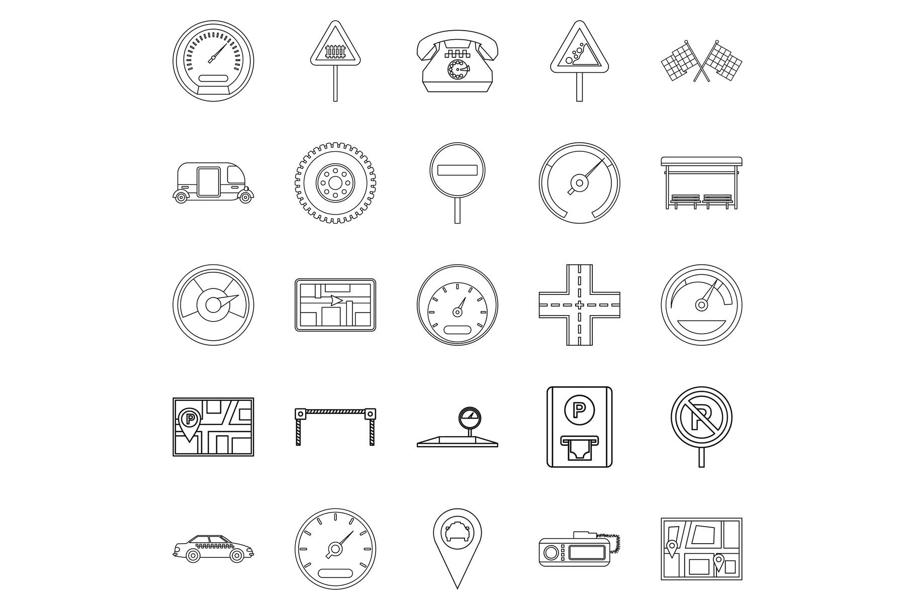 Engine icons set, outline style example image 1
