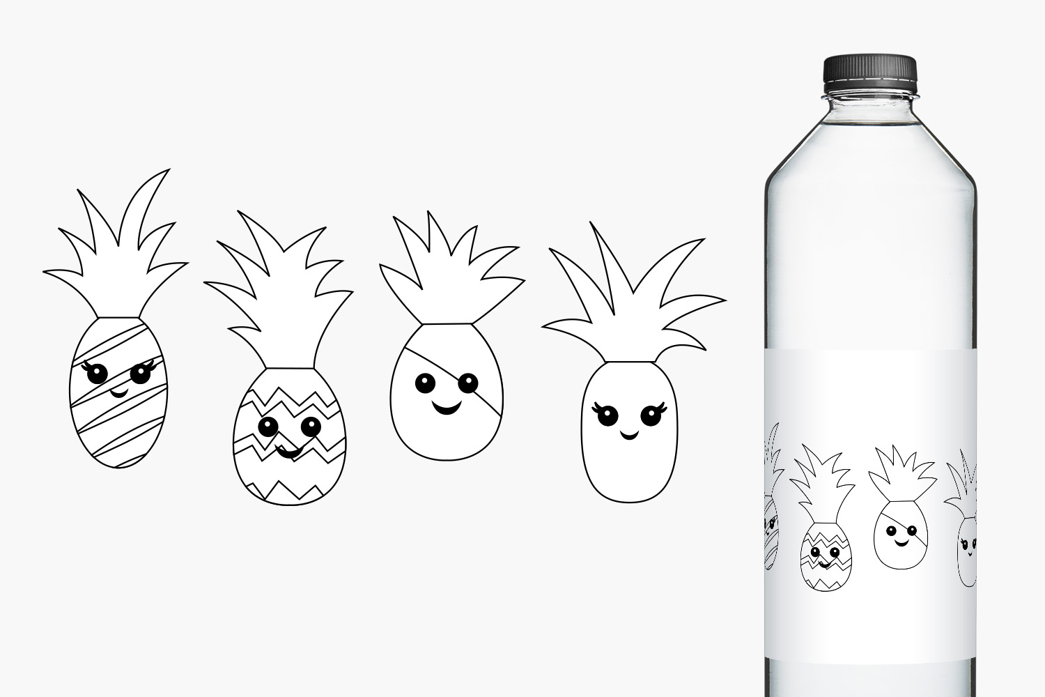 Happy Face Pineapple Illustrations example image 2
