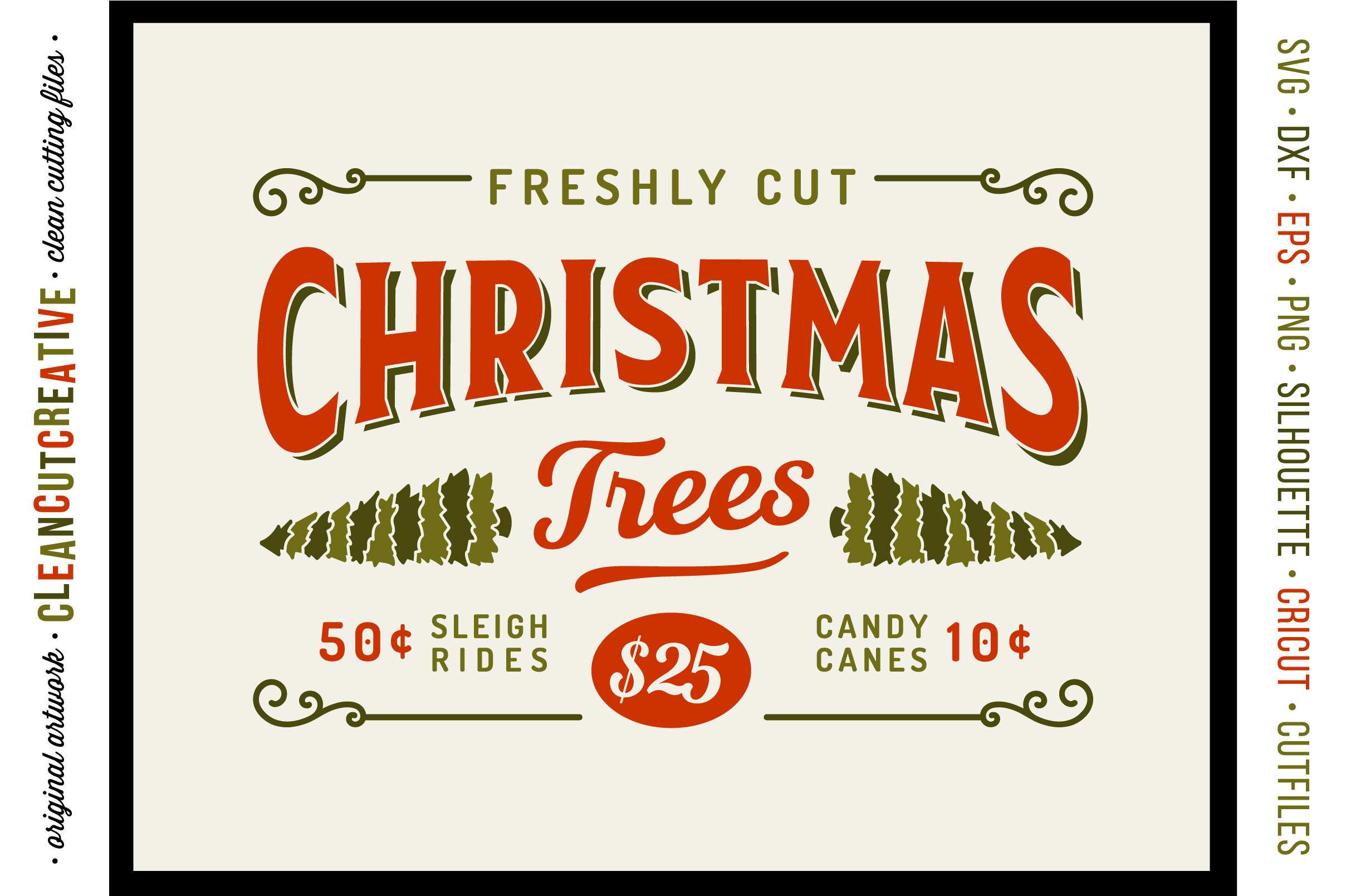 Freshly Cut Christmas Trees! - Rustic Farm Wood Sign - SVG DXF EPS PNG - Cricut & Silhouette - clean cutting files example image 1