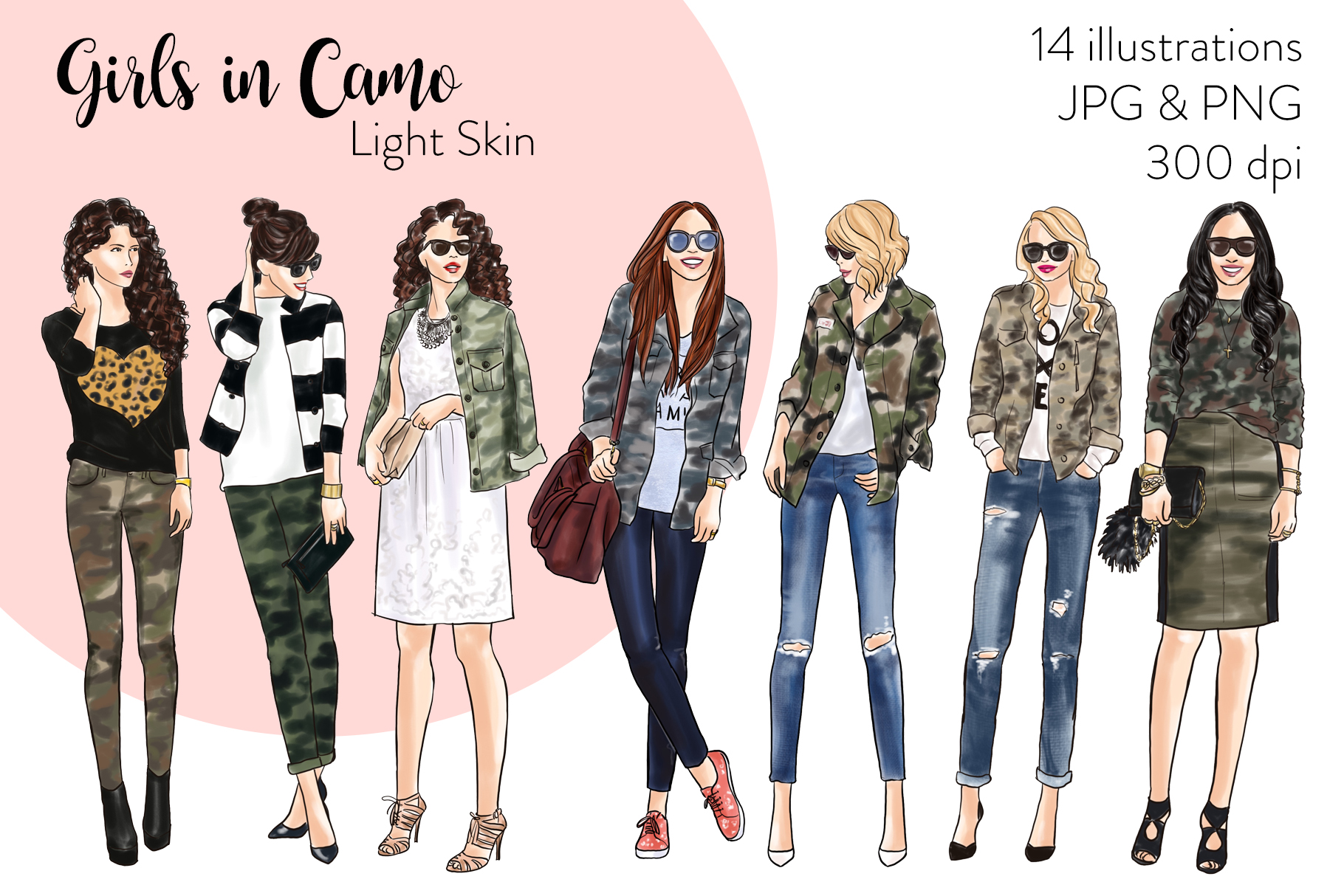 Fashion illustration clipart - Girls in Camo - Light Skin example image 1