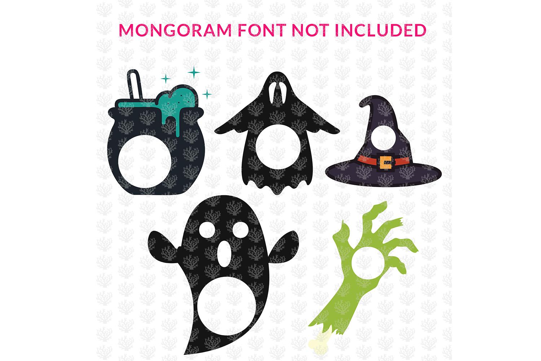 Big SVG Bundle - 31 Halloween Monogram Frame SVG EPS DXF PNG example image 4