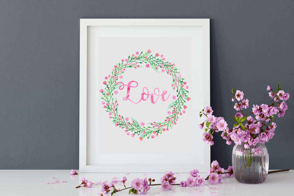 Floral Watercolor Spring Tulips Wreaths Bundle example image 3