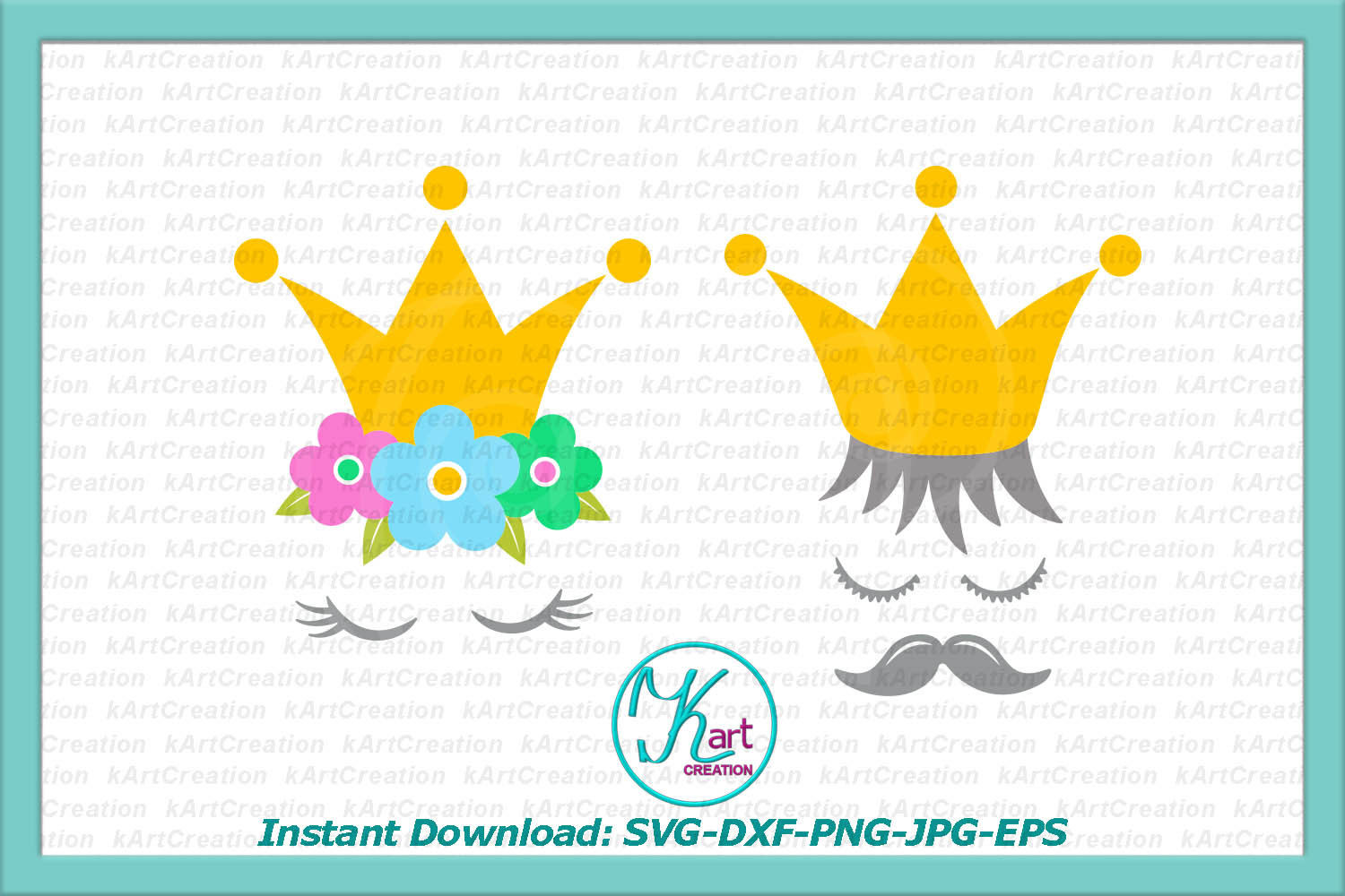 Prince Princess crown face eyelashes mustaches svg dxf png example image 2