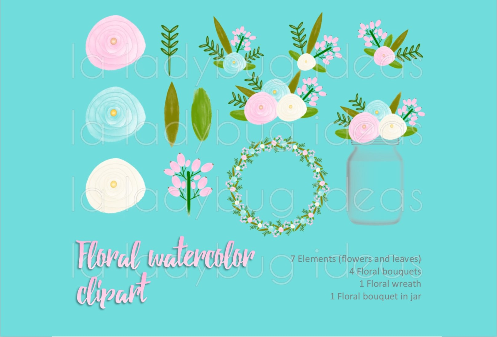 Pink and aqua floral watercolor clip art collection.  example image 1