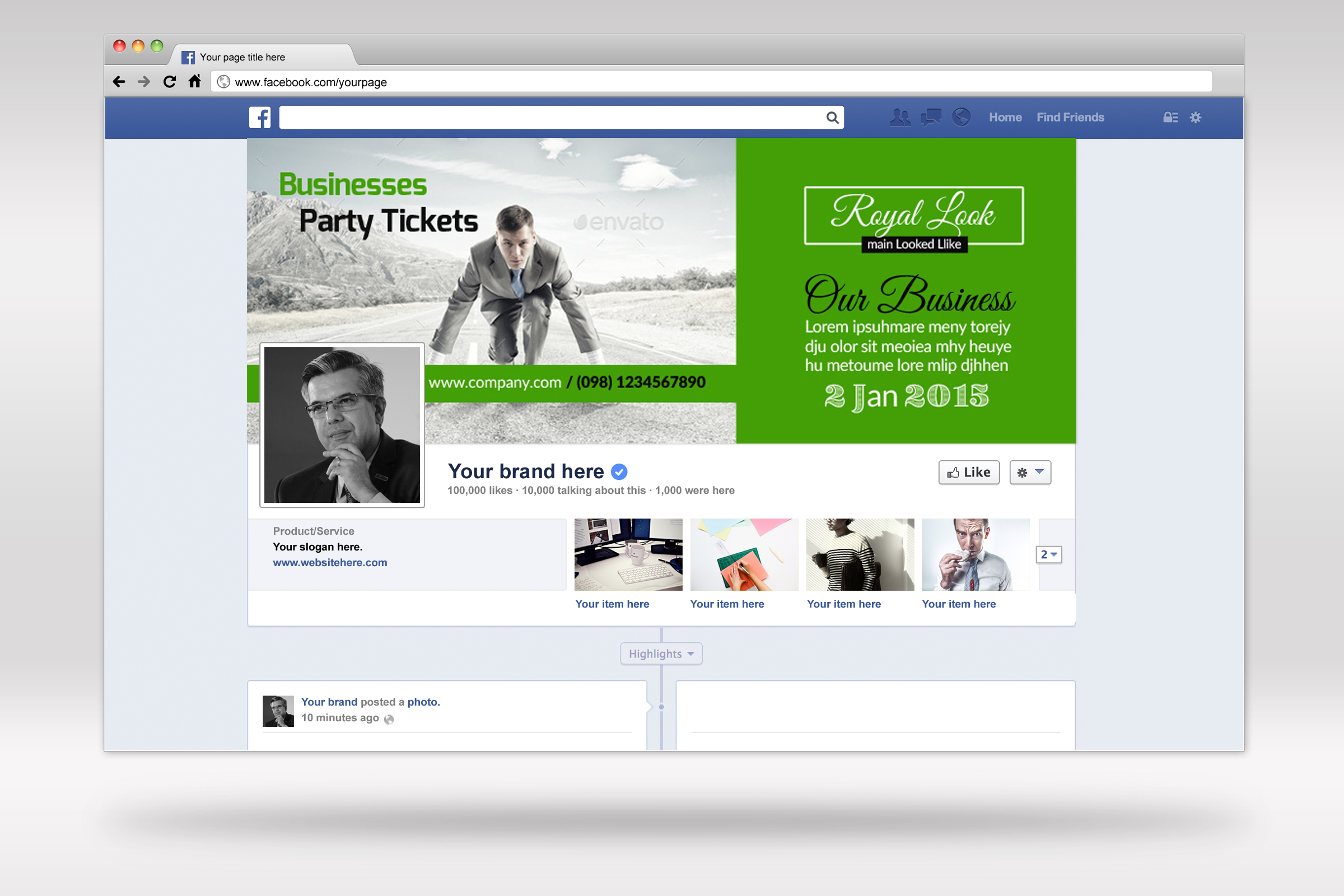 Creative Business Facebook Timeline Cover example image 2